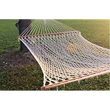 """59"""" Double Wide Soft Cotton Rope Hammock That Accomodates for Two - Great Yard, Beach, Camping, Outdoor, and Indoor 2 Person"""