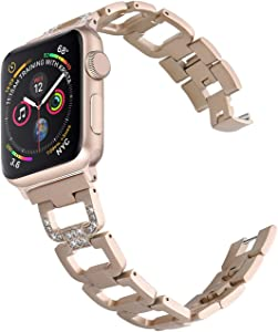 PUGO TOP Band Replacement for apple watch 38mm 40mm Series 6 5 4 3 2 1 SE Iwatch Iphone Watch Bracelet Link Band Stainless Steel for Women(38mm/40mm, Champagne Gold)