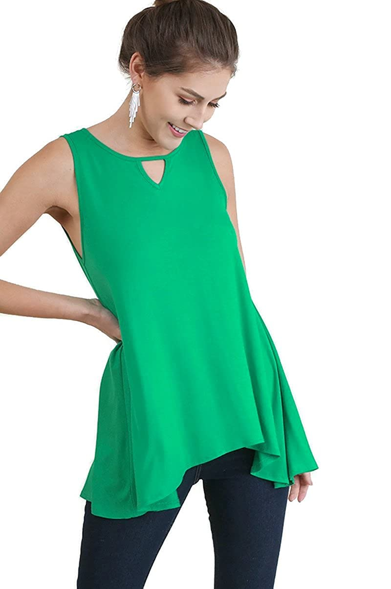 Umgee Womens Keyhole Sleeveless Tunic Top