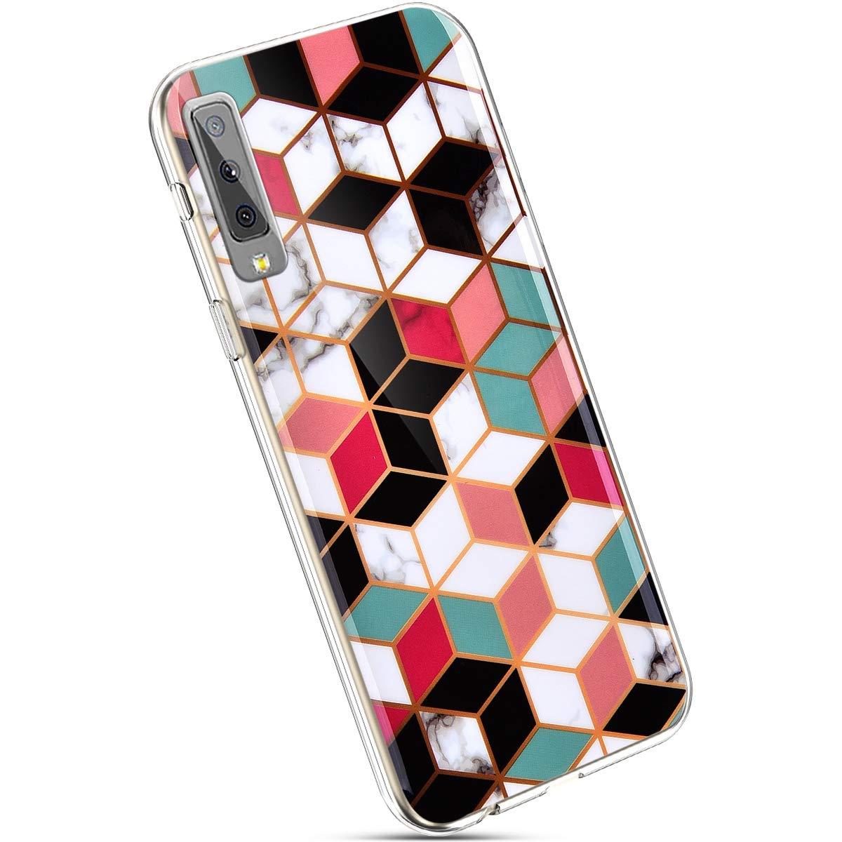 Ysimee Compatible avec Samsung Galaxy A7 2018//A750 Coque Marbre Etui en Silicone Souple Flexible Lustr/é Housse Motif G/éom/étrique Imprim/é TPU Antichoc Bumper Case Ultra Mince L/éger Housse,Marble#10