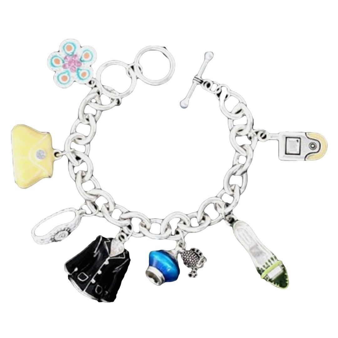 Fashion Charm Bracelet D6 Jacket Shoe Purse Flower Cell Phone Silver Tone Toggle by Recyclebabe Bracelets