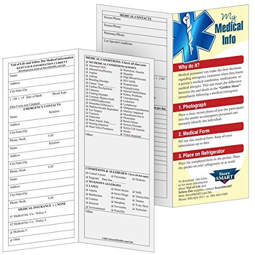 Storesmart Vial File Of Life Medical Info Pocket