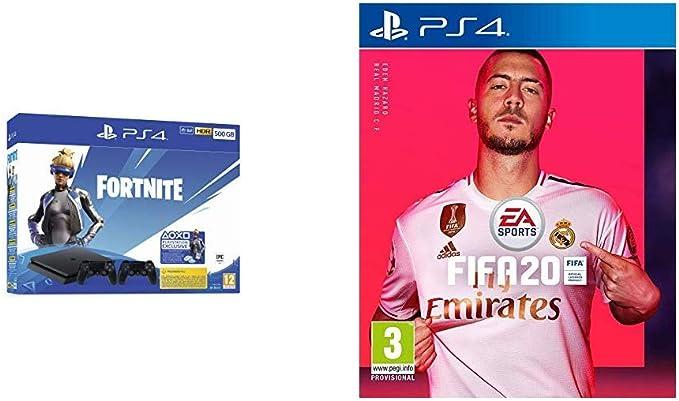 Playstation 4 (PS4) - Consola 500 Gb + 2 Mandos Dual Shock 4 + Contenido Fortnite (Edición Exclusiva Amazon) + FIFA 20 - Edición Estándar: Amazon.es: Videojuegos
