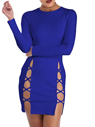 09613a4eee5 TOB Women's Sexy Summer Bodycon Long Sleeves Lace up Mini Club Dress Royal  Blue