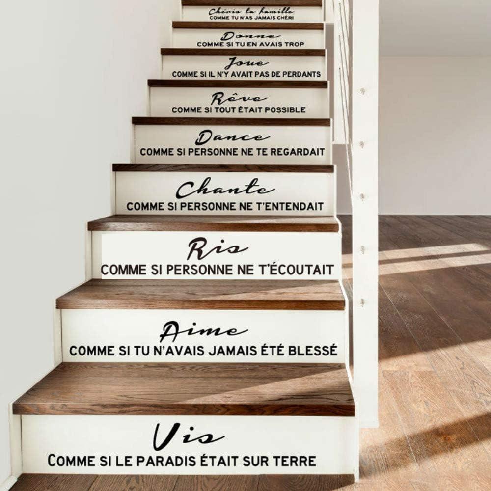 WALSITK Etiqueta de la Escalera Cita Francesa Cheris ta famille Vinilo Tatuajes de Pared Arte de la Pared salón decoración del hogar decoración de la casa: Amazon.es: Hogar