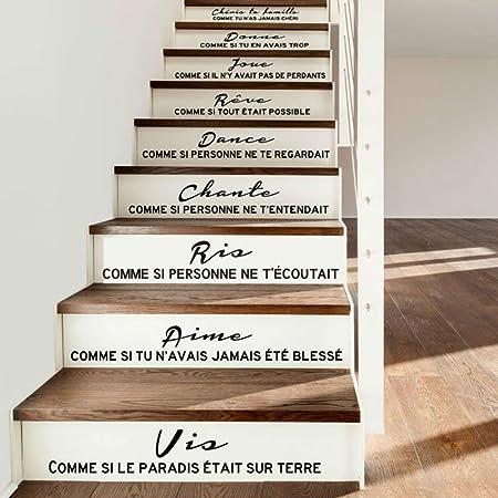 WALSITK Escalier Autocollant Citation français Cheris ta ...