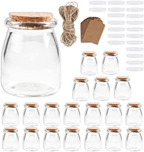 7 oz Glass Jars 20 Pack, Clear Pudding Jars with PE&Cork Lids Yogurt Containers Spice Jars,Small Favor Jars with Tags and String Ideal for Handmade Jam,Honey,Wedding Favors,Shower Favors, Baby Foods