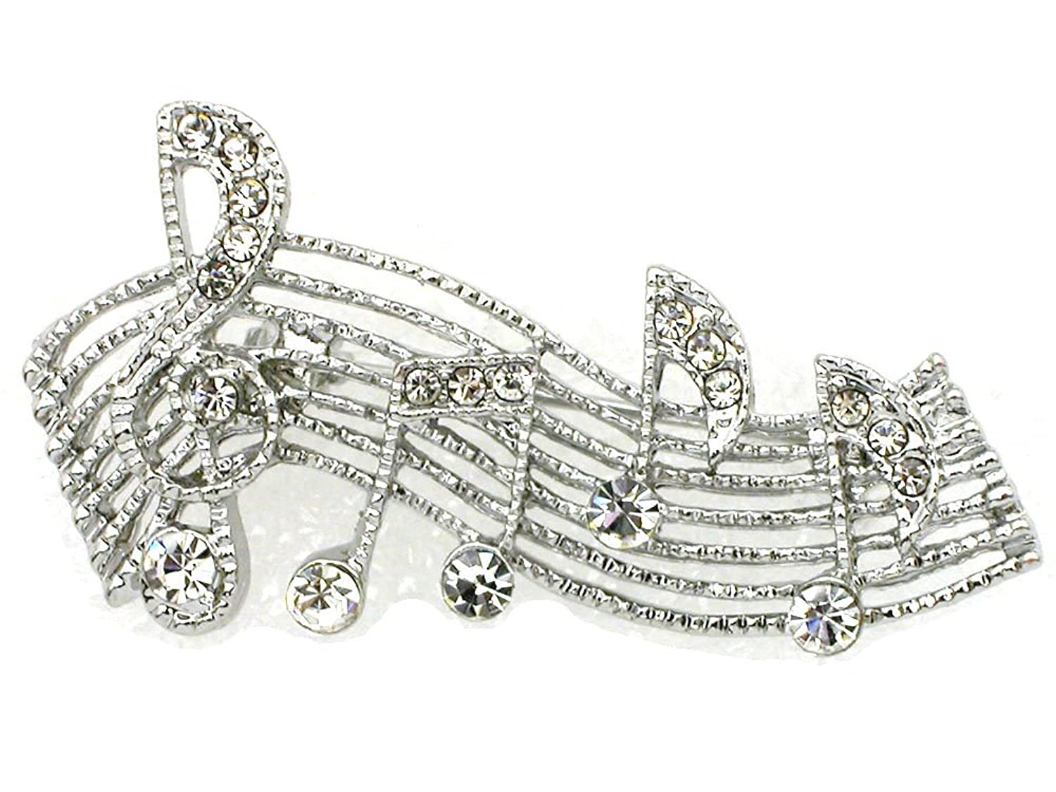 Music Note Clef BROOCH PIN Clear Crystals Gold Tone NEW