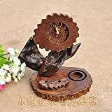 Wood alarm clock candlestick beacon creative hand-carved decorative ornaments bells