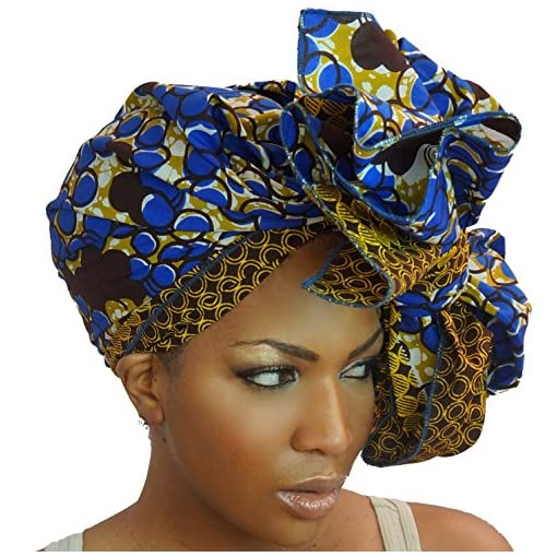 Traditional African Print Wax Kente Head Wrap Extra Long 72x22 Scarf Turban Tie