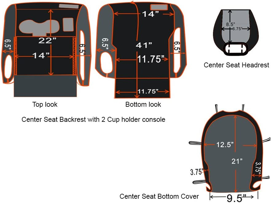CarsCover Custom Fit 2004-2008 Ford F150 Pickup Truck Black Neoprene Car Front Center Jump Seat Cover and Console Covers