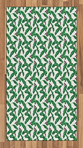 Banana Leaf Area Rug by Ambesonne, Lush Jungle Leafage Flowering Stems of Island Tree Hawaiian Aloha Pattern, Flat Woven Accent Rug for Living Room Bedroom Dining Room, 2.6 x 5 FT, Green Plum White (Decoration Banana Stem)