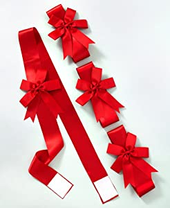 The Lakeside Collection Red Cabinet Ribbons for Holiday Decoration, Gifts - Set of 4