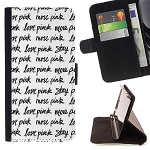 BullDog Case - FOR/Sony Xperia Z1 Compact D5503 / - / love pink stay text repetitive black white /- Monedero de cuero de la PU Llevar cubierta de la caja con el ID Credit Card Slots Flip funda de cuer