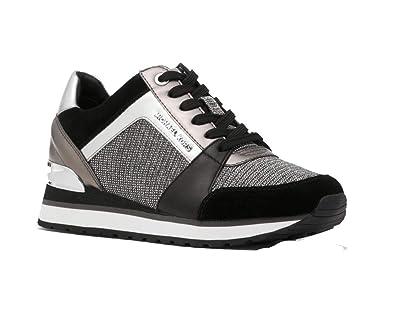 7fc5205a20e35 Michael Michael Kors Women s Billie Glitter Chain   Mesh Trainer Sneaker ( Black Silver)