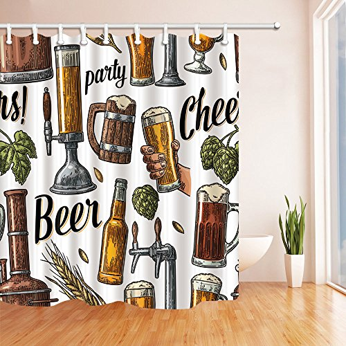 Taps Bath Taps (NYMB Vintage Beer Tap Hand Hold Glass Bottle Hop for Party Shower Curtain 69X70 inches Mildew Resistant Polyester Fabric Bathroom Fantastic Decorations Bath Curtains Hooks Included (Multi4))