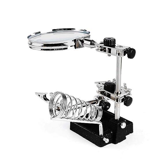 Gona Helping Hand Magnifier Stand - 10X Lupa De Aumento Soldador De Hierro, Soldar, Fabricar E Inspeccionar Micro Objetos: Amazon.es: Hogar