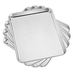 Baking Sheet Set of 4, Yododo Cookie Sheet Stainless Steel Tray Baking Pans Mirror Polishing Pans with 12 x 10 x 1 inch Size, Non Toxic & Healthy, Rust Free & Easy Clean (4 Pieces)