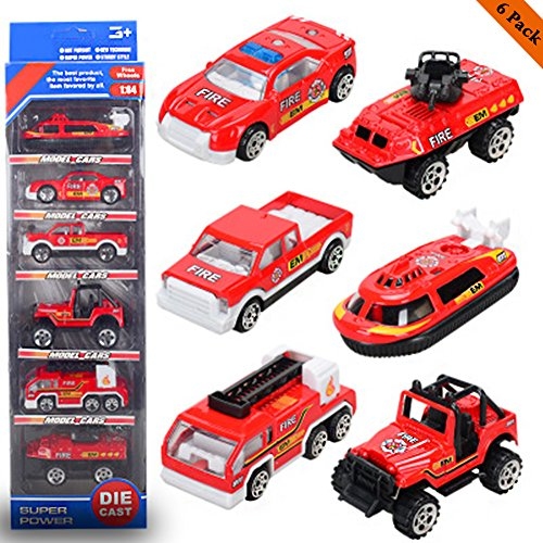 (New Ideal 6 PCS Fire Engine Vehicles,Different Type of Fire Pull Back Car,Boys and Girls(Fire model cars))