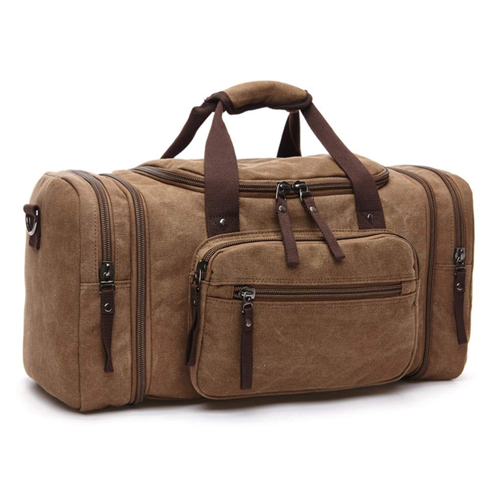 Large Capacity Men Hand Luggage Canvas Travel Bags Multifunctional Khaki