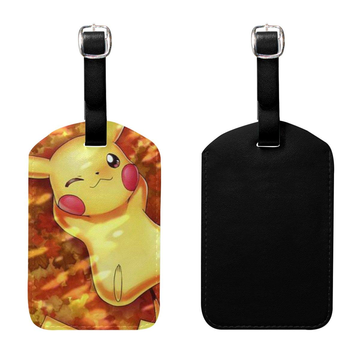 PU Leather Luggage Tags Pikachu Suitcase Labels Bag Adjustable Leather Strap Travel Accessories Set of 2