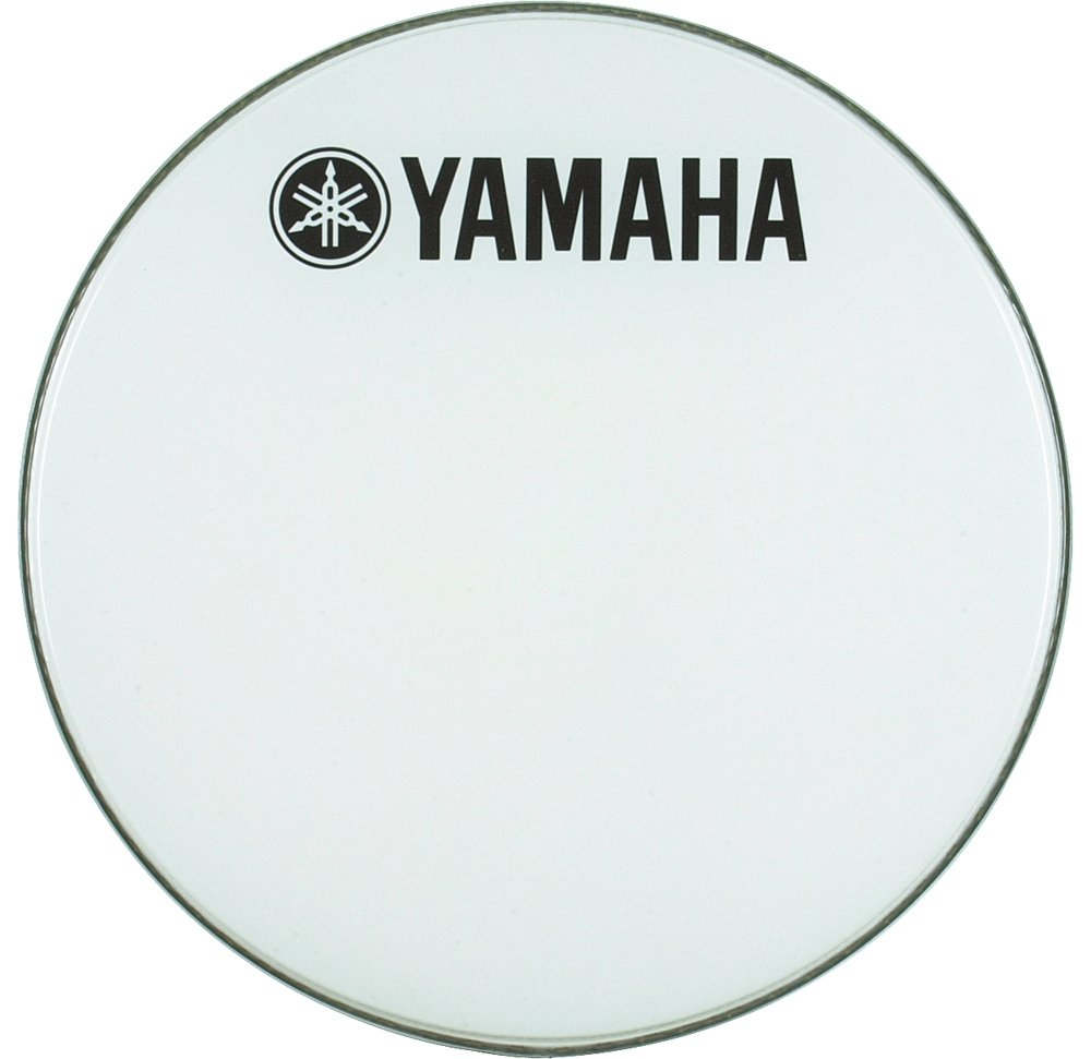 Yamaha Marching Bass Drum Head with Fork Logo White 26 Inches DHBR1226
