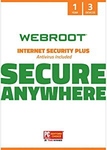 Webroot Internet Security Plus with Antivirus Protection Software | 3 Device | 1 Year Subscription | PC/Mac CD with Keycard