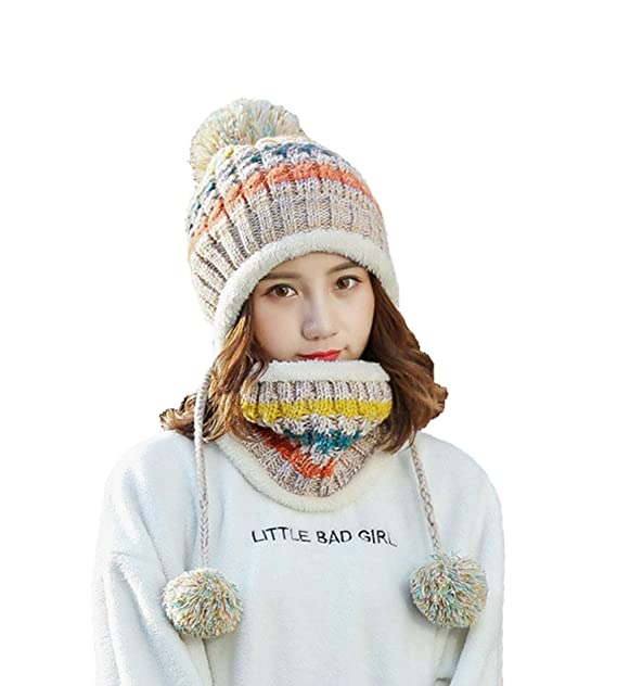 c33a6adb032 Boomly Womens Wool Knitted Winter Hat Thicken Hat Cap And Neck Scarf Set  Ladies Beanie Ski Snowboard Hats With Large Pom Pom Cap (Beige)   Amazon.co.uk  ...