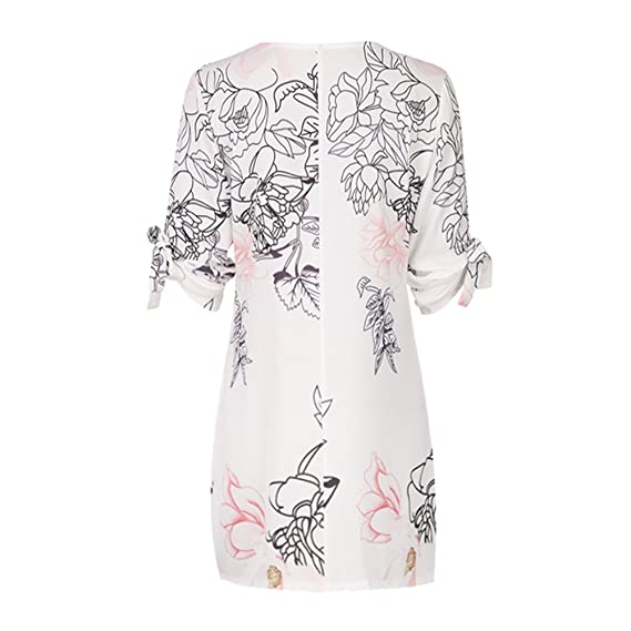 Alixyz Womens Mini Dress Casual Floral Print Bowknot Sleeves Cocktail Party Dress at Amazon Womens Clothing store: