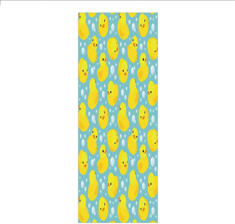 Decorative Privacy Window Film/Cute Happy Rubber Duck and Bubbles Cartoon Pattern Childhood Kids Theme Art/No-Glue Self Static Cling for Home Bedroom Bathroom Kitchen Office Decor Aqua and Yellow