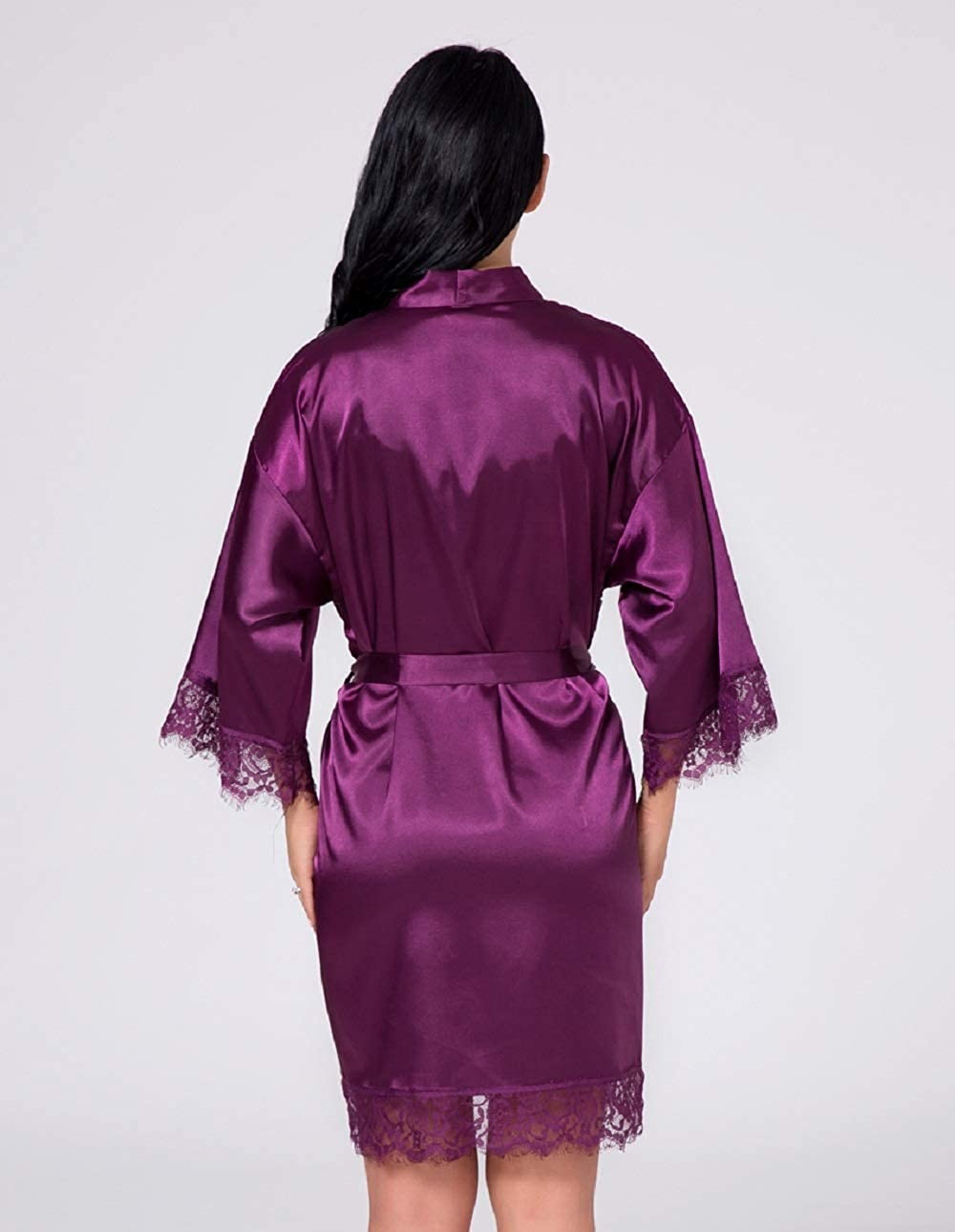 Womens Kimono Robes Satin Nightdress Pure Colour Short Style with Oblique V-Neck Lace Gowns Bathrobes Nightwear