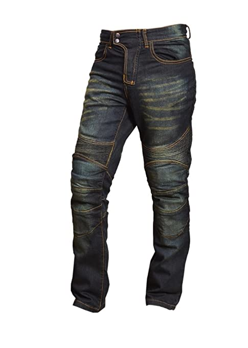 Black Motorcycle Motorbike Knee Armour Jeans Pants with Aramid Protection Lining
