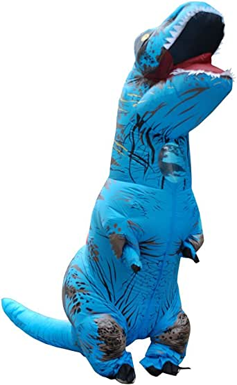 yunzhenbusiness Adult T-Rex Inflatable Dinosaur Costume Halloween Cosplay Blowup Funny Outfit