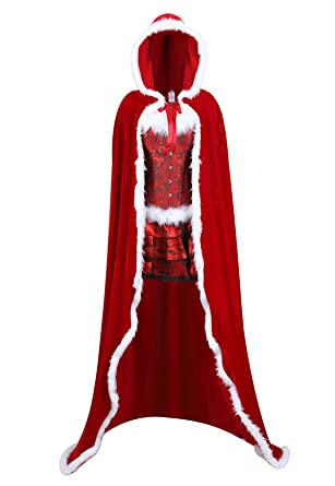 029adda6335 Famajia Women s Christmas Cloak Deluxe Velvet Hooded Cape Corset Skirt Set Mrs  Santa Costumes Small Red