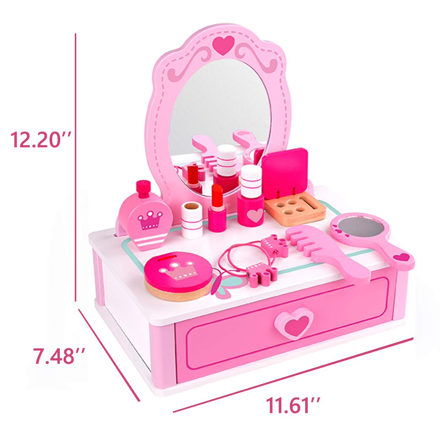 Wooden Dresser Vanity Beauty Set, Makeup Accessories with Mirror, Salon Fashion Cosmetic Pretend 15 Piece / pcs Play Toy for Children by CharaHome (Image #6)