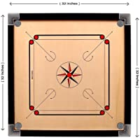 Ellenshire Wooden Round Pocket Carrom Board 32 inches Large with Coins ,Supreme Striker and Carrom Powder.