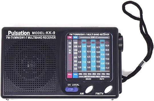 Pulsation Radio Radio Radio FM Am portátil 7 Bandas frecuencia KK-9 Audio TV Negra: Amazon.es: Electrónica