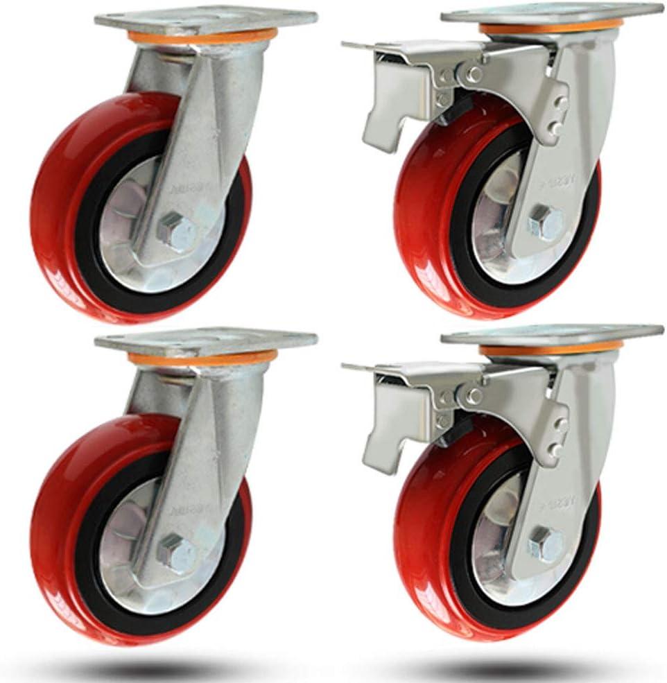 4インチ/ 5インチ/ 6インチ/ 8インチの頑丈なポリウレタン回転キャスター、産業用トロリーキャスター、静かで耐摩耗性、赤