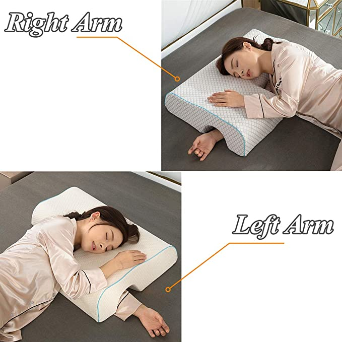 Anti Pressure Neck Support Left//Right Hand Pillow for Couples Sleeping Left Style Couples Pillow Arched Cuddle Pillow with Slow Rebound Memory Foam for Arm Rest