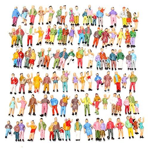 Andensoner Modelo Color People Toy, 100 Piezas Mixto Pintado Modelo Trenes Personas Pasajeros Figuras