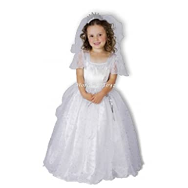 Toddler Girls Beautiful White Bride Fancy Dress Costume 3,4