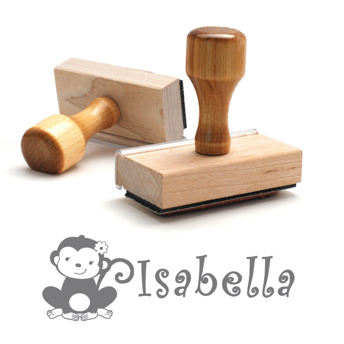 Personalized Kids Name Self Inking Stamp, Monkey, Custom Font, Customized with Name, Rubber Stamp, Naming Stamp, Children's Signature Stamper, Kids Stamp (Wooden Handle - Separate Ink Pad Required)