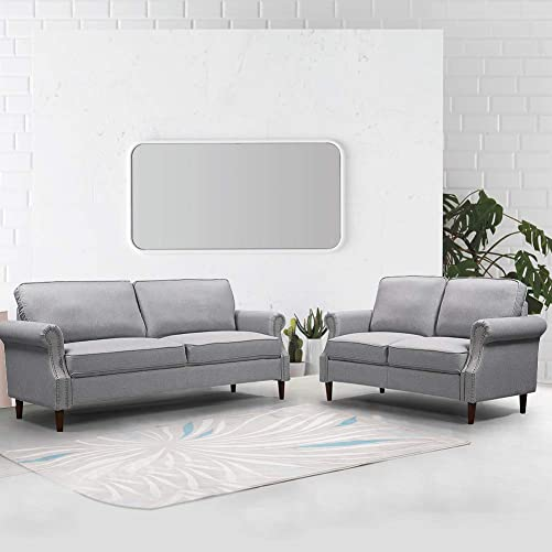 Suwikeke Living Room Two-Piece Sofa Furniture Combination, Low-Key Traditional Style, Comfortable and Soft Cushion, Light Gray
