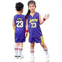 Lebron James Los Angeles Lakers #23 Kid Retro Jerseys Sets, Youth Boys Girls Basketball Top+Shorts Suit, Kids Basketball…