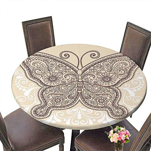 PINAFORE Simple Modern Round Table Hand Drawn Ornate Butterfly Henna Mehndi Paisley Doodle Tattoo Design Element withSwirls for Daily use, Wedding, Restaurant 31.5