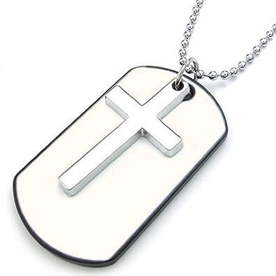 Collar con cruz de acero inoxidable y chapa estilo militar ...