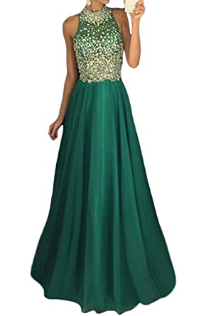 MARSEN Womens High Neck Halter Chiffon Prom Dress Long Beaded Evening Gown Green Size 2