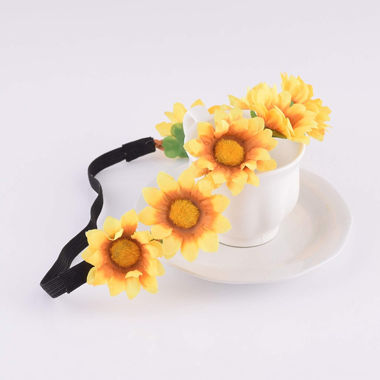 Poooyun-Life Sunflower Flower Crown Wreath Headband Bridesmaid Elastic Floral Crown Girl Women Wedding Headband Hair accessories,1
