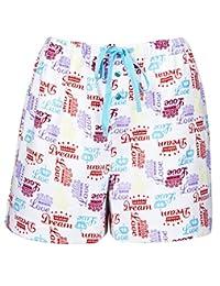 Leisureland Women's Cotton Flannel Pajama Boxer Shorts Crown of Love