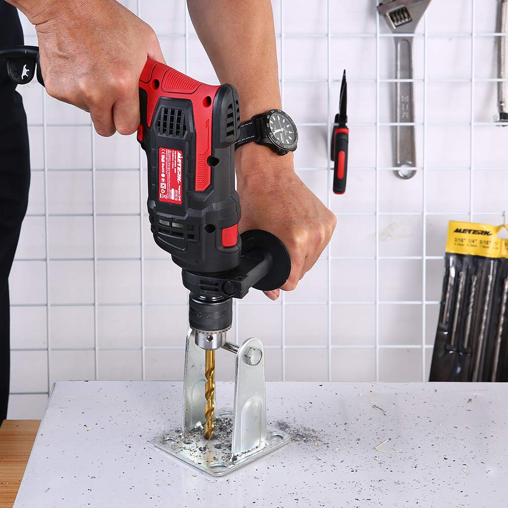 Meterk 7.0 Amp 1/2 Inch Corded Drill 850W, 3000RPM Dual Switch Between Electric Hammer Drill and Impact Drill, With Adjustable Speed for Drilling Wood, Steel, Concrete&Plastic DIY Drilling by Meterk (Image #10)